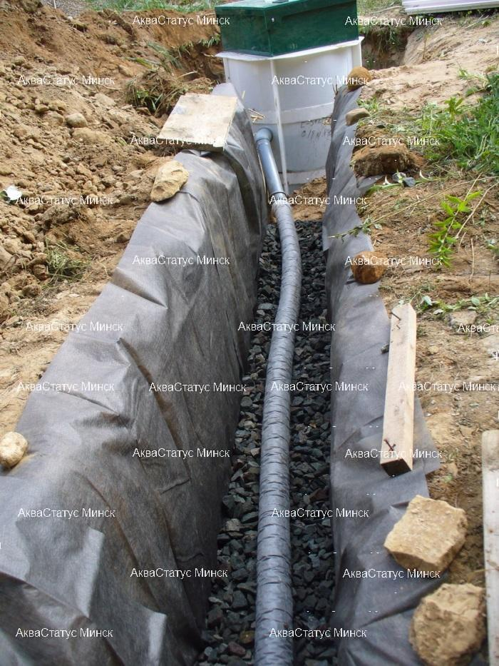 Вариант отвода очищенного стока посредством дренажной траншеи